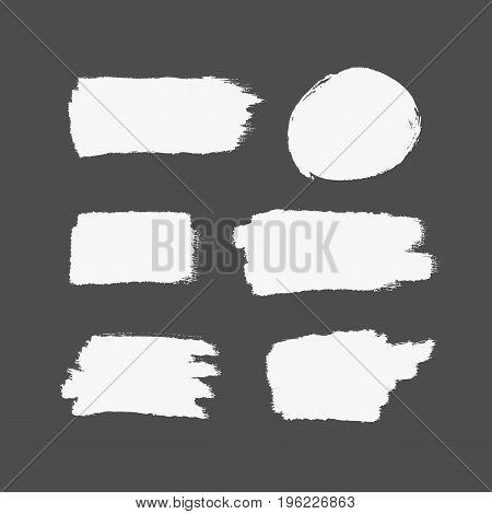 Texture of white brush strokes. Rectangular and round strokes. Set of isolated brushstrokes. Grunge sketch graffiti paint splash. Vector illustration.