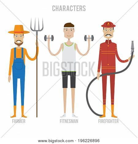 Character Set include farmer, fitnesman and firefighter   set of vector character illustration use for human, profession, business, marketing and much more.The set can be used for several purposes like: websites, print templates, presentation templates, a