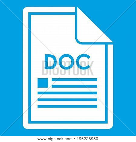 File DOC icon white isolated on blue background vector illustration