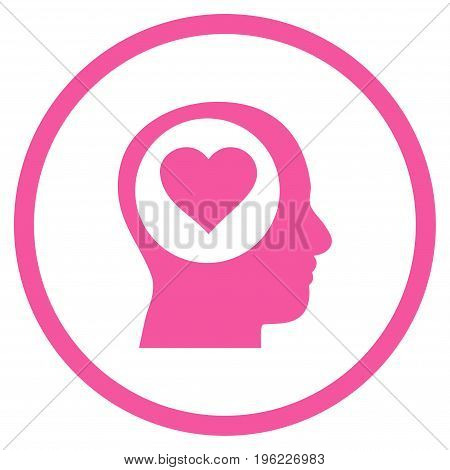 Love Thinking Head rounded icon. Vector illustration style is flat iconic symbol inside circle, pink color, white background.