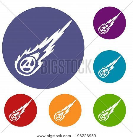 Meteorite icons set in flat circle red, blue and green color for web