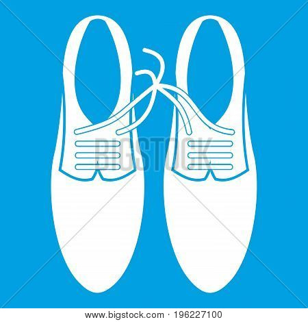 Tied laces on shoes joke icon white isolated on blue background vector illustration