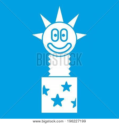Toy jumping out of box icon white isolated on blue background vector illustration