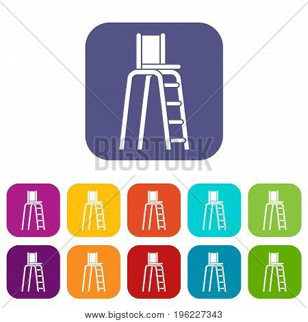 Tennis tower for judges icons set vector illustration in flat style in colors red, blue, green, and other