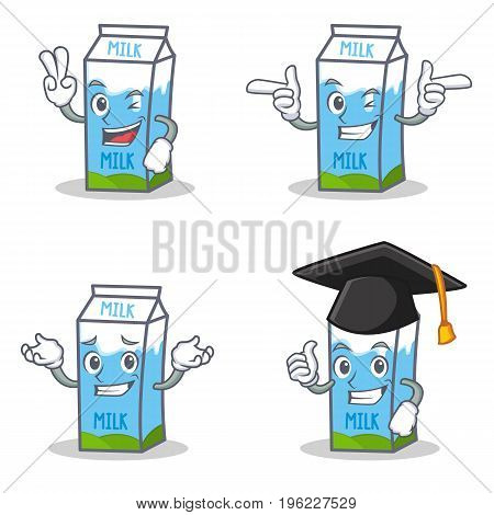 Set of milk box character with two finger wink graduation vector illustration