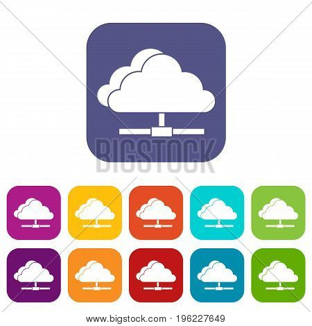 Cloud computing connection icons set vector illustration in flat style in colors red, blue, green, and other