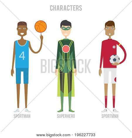 Character Set include sportman and superhero   set of vector character illustration use for human, profession, business, marketing and much more.The set can be used for several purposes like: websites, print templates, presentation templates, and promotio