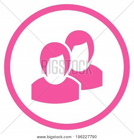 Women rounded icon. Vector illustration style is flat iconic symbol inside circle, pink color, white background.