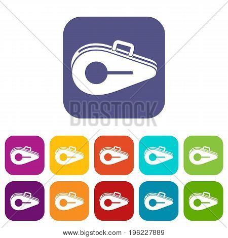 Tennis bag icons set vector illustration in flat style in colors red, blue, green, and other