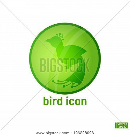 Icon With Silhouette Bird.