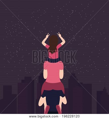 mom and daughter on father shoulder family having fun support take care symbol vector