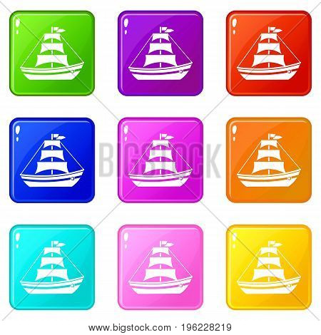 Boat with sails icons of 9 color set isolated vector illustration