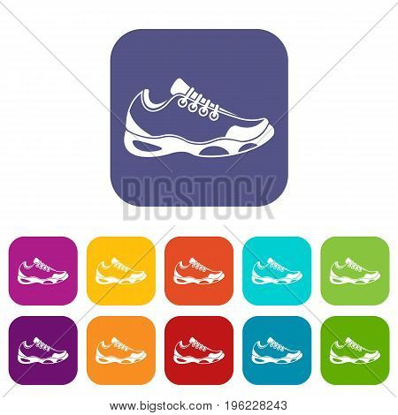 Sneakers for tennis icons set vector illustration in flat style in colors red, blue, green, and other