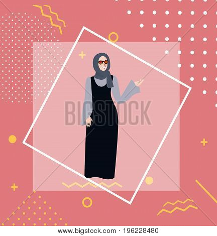 muslim woman girl standing wearing veil head scarf cover vector