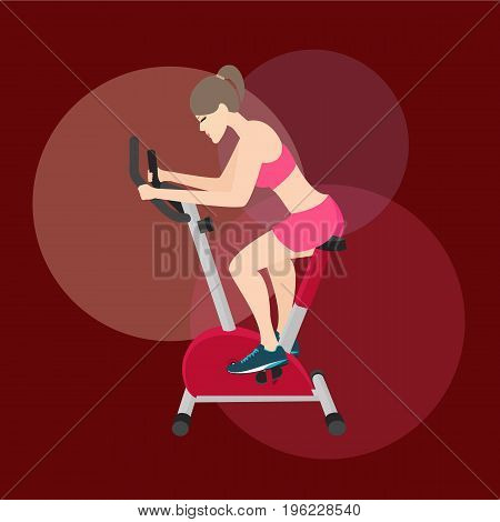 girl woman work-out in static bike fitness equipment training loose weight vector