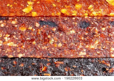 Fruit berry and nut energy bars as a food background. Fruit bars texture.