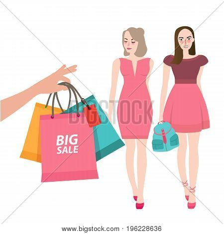 two girls friends walking shopping bring bag big sale customer illustration vector