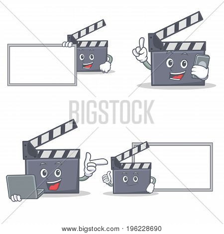 Set of movie clapper character with board phone laptop vector illustration