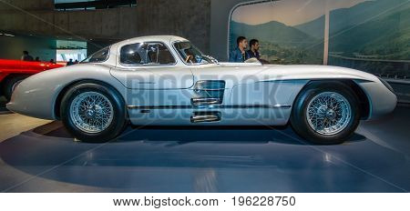 STUTTGART GERMANY- MARCH 19 2016: Racing car Mercedes-Benz 300 SLR Uhlenhaut coupe 1955. Mercedes-Benz Museum.