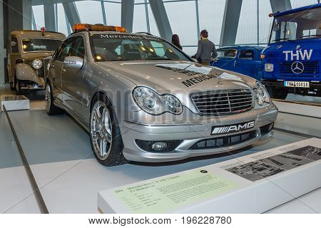 STUTTGART GERMANY- MARCH 19 2016: Mercedes-Benz C32 AMG station wagon F1 Medical car 2001. Mercedes-Benz Museum.