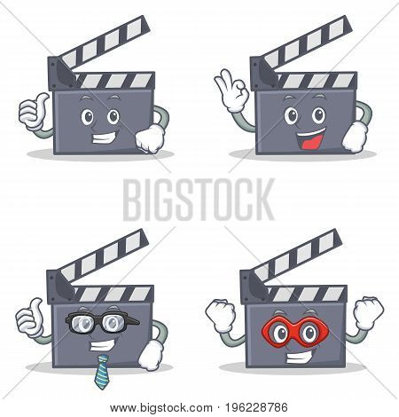 Set of movie clapper character with proud okay businessman hero vector illustration