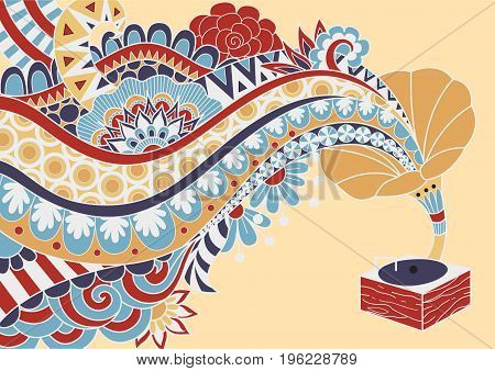 Coloful gramaphone with floral music wave for design element. Vector illustration