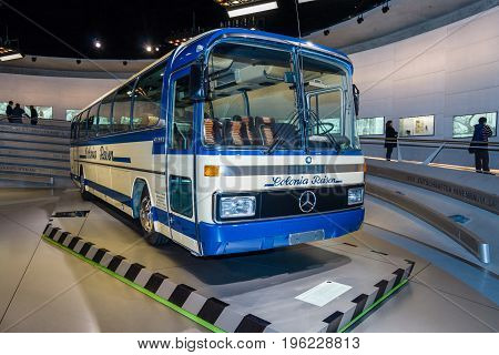 STUTTGART GERMANY- MARCH 19 2016: The touring coach Mercedes-Benz O303 1979. Mercedes-Benz Museum.