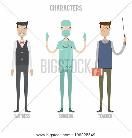 Character Set include waitress, surgeon and teacher | set of vector character illustration use for human, profession, business, marketing and much more.The set can be used for several purposes like: websites, print templates, presentation templates, and p