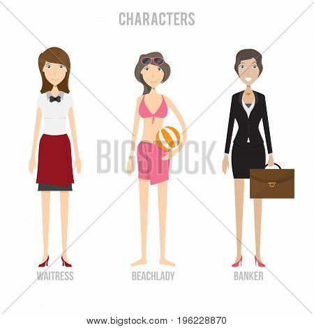 Character Set include beachlady, waitress and banker | set of vector character illustration use for human, profession, business, marketing and much more.The set can be used for several purposes like: websites, print templates, presentation templates, and
