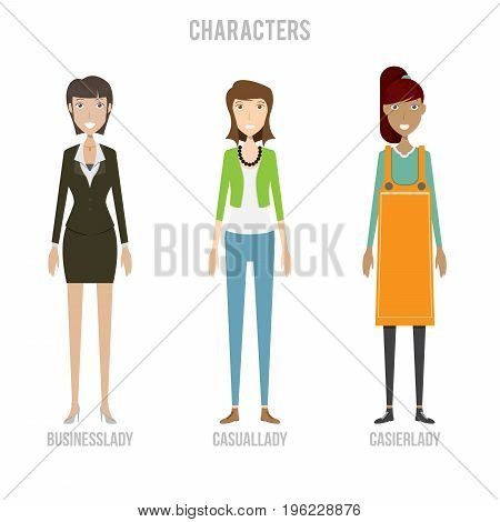 Character Set include casuallady, businesslady and cashierlady | set of vector character illustration use for human, profession, business, marketing and much more.The set can be used for several purposes like: websites, print templates, presentation templ