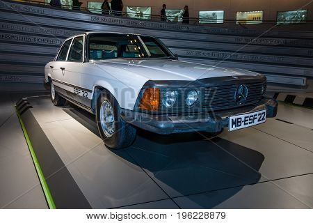 STUTTGART GERMANY- MARCH 19 2016: Mercedes-Benz Experimental Safety Vehicle ESF22 1973. Mercedes-Benz Museum.