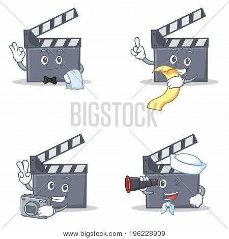 Set of movie clapper character with waiter menu photo binocular vector illustration