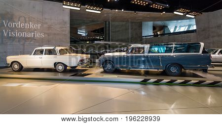 STUTTGART GERMANY- MARCH 19 2016: Mercedes-Benz 220 S (W110) and Mercedes-Benz 300 (W186) measuring car. Mercedes-Benz Museum.