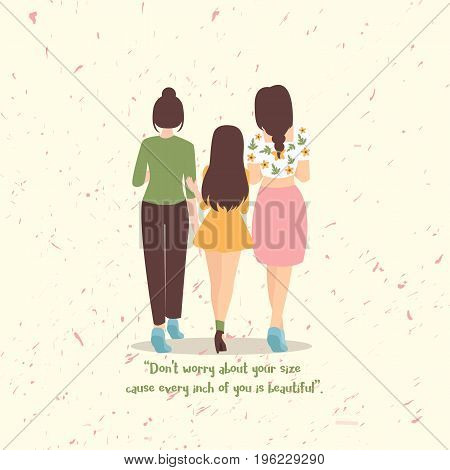 Don t worry about your size cause every inch of you is beautiful woman from back vector