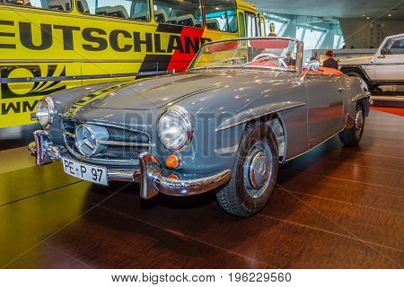 STUTTGART GERMANY- MARCH 19 2016: Roadster Mercedes-Benz 190 SL (W121) 1958. Mercedes-Benz Museum.