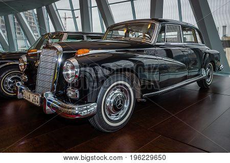 STUTTGART GERMANY- MARCH 19 2016: Car of Chancellor Konrad Adenauer Mercedes-Benz Type 300d (W189) 1959. Mercedes-Benz Museum.