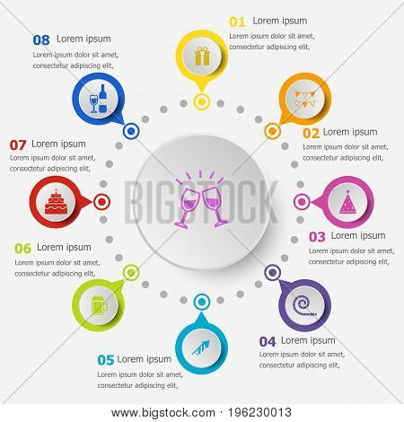 Infographic template with celebration icons, stock vector