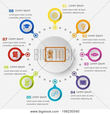 Infographic template with college icons, stock vector