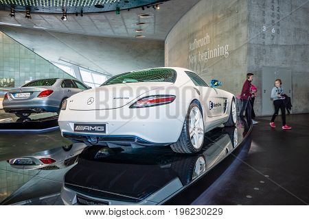 STUTTGART GERMANY- MARCH 19 2016: Luxury car Mercedes-Benz SLS AMG Coupe Electic Drive 2012. Rear view. Mercedes-Benz Museum.