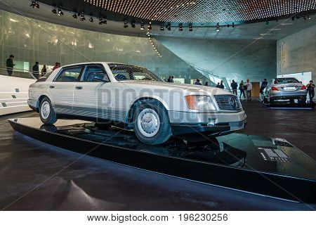 STUTTGART GERMANY- MARCH 19 2016: The concept car Mercedes-Benz Auto 2000 1981. Mercedes-Benz Museum.