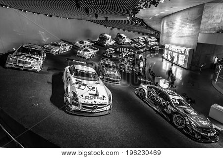 STUTTGART GERMANY- MARCH 19 2016: Gallery of sports and racing cars of different classes. Black and white. Mercedes-Benz Museum.