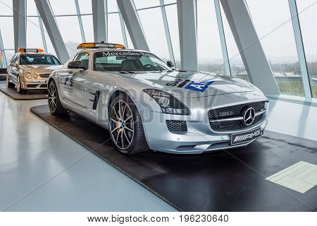 STUTTGART GERMANY- MARCH 19 2016: Official F1 Safety car Mercedes-Benz SLS AMG Coupe 2010. Mercedes-Benz Museum.