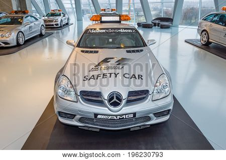 STUTTGART GERMANY- MARCH 19 2016: Official F1 Safery car Mercedes-Benz SLK55 AMG 2004. Mercedes-Benz Museum.