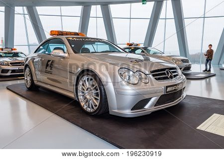 STUTTGART GERMANY- MARCH 19 2016: Official F1 Safery car Mercedes-Benz CLK63 AMG 2006. Mercedes-Benz Museum.