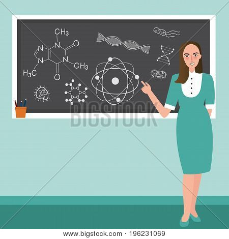teacher in front of class explain chemistry reaction science subject in blackboard vector
