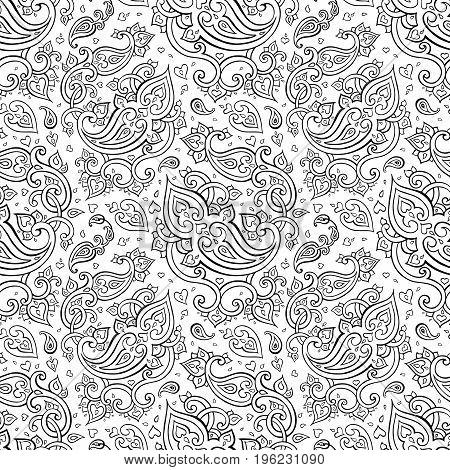 Paisley Beautiful golden seamless background. Elegant Hand Drawn vintage Pattern
