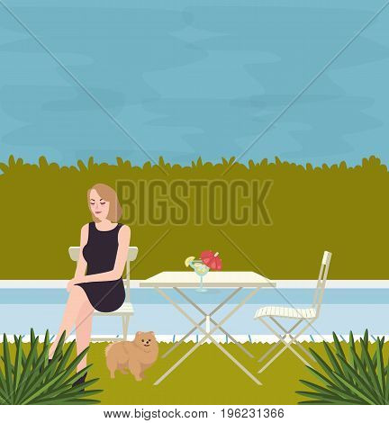 girl sitting alone with the dog on side of swimming pool vector