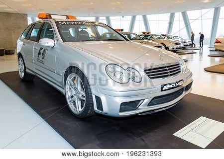 STUTTGART GERMANY- MARCH 19 2016: Official F1 Medical car Mercedes-Benz C55 AMG 2004. Mercedes-Benz Museum.