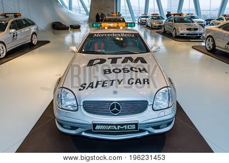 STUTTGART GERMANY- MARCH 19 2016: Official DTM Safery car Mercedes-Benz SLK32 AMG 2002. Mercedes-Benz Museum.
