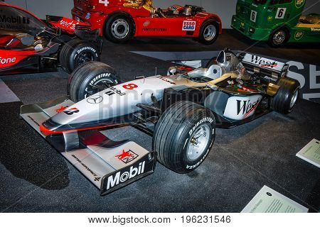 STUTTGART GERMANY- MARCH 19 2016: Formula One racing car McLaren-Mercedes MP4-13 1998. Mercedes-Benz Museum.
